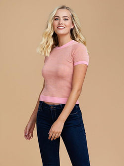 Goodnight Macaroon 'Kora' Knitted Cropped T-Shirt Half Body Front