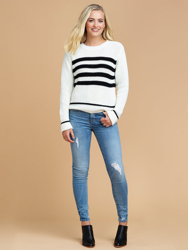 Goodnight Macaroon 'Rylan' Striped Knitted Crew Neck Sweater Front
