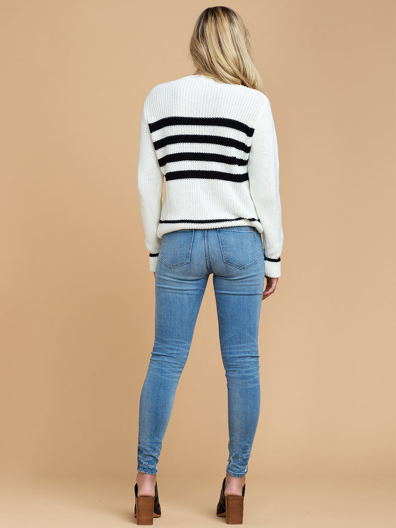 Goodnight Macaroon 'Rylan' Striped Knitted Crew Neck Sweater Back