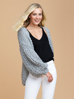 Goodnight Macaroon 'Berti' Chunky Knit Open Cardigan Model Half Body Side