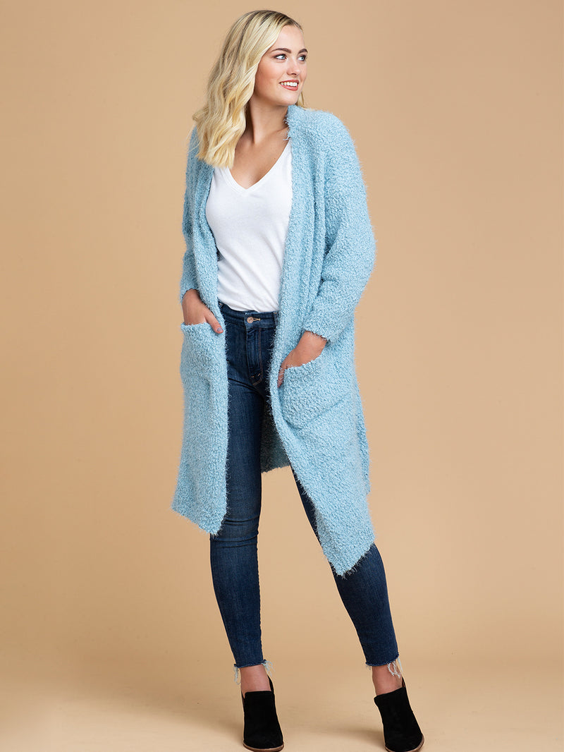 Goodnight Macaroon 'Mariah' Sky Blue Fuzzy Knit Long Open Cardigan Model Full Body Front
