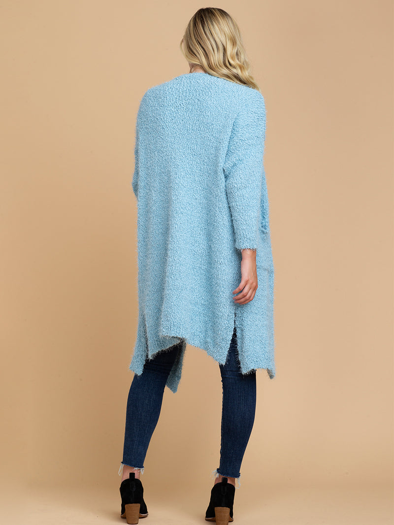 Goodnight Macaroon 'Mariah' Sky Blue Fuzzy Knit Long Open Cardigan Model Full Body Back