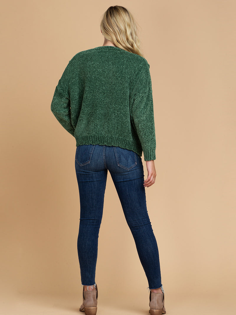 Goodnight Macaroon 'Jenna' V-Neck Chenille Ribbed Oversized Sweater Green Model Full Body Back