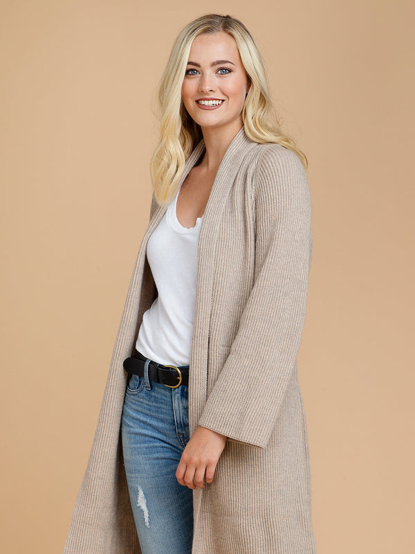 Goodnight Macaroon 'Daphne' Ribbed Belted Open Long Cardigan Beige Model Half Body Side