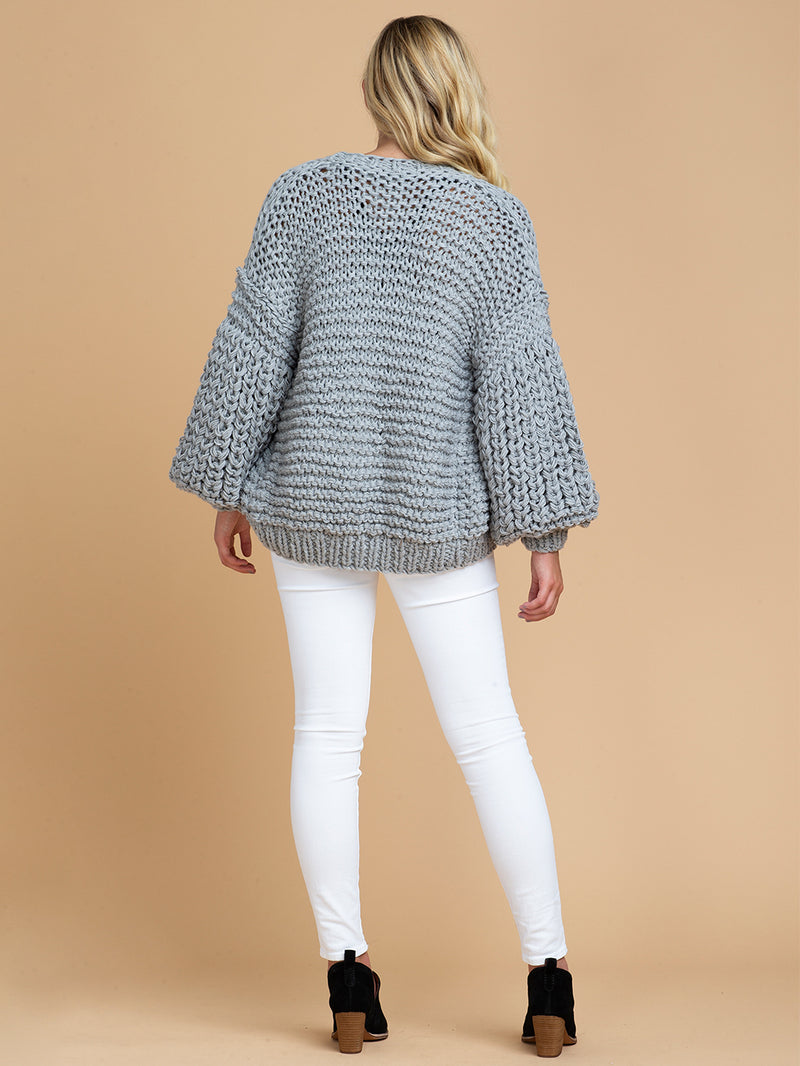 Goodnight Macaroon 'Berti' Chunky Knit Open Cardigan Model Full Body Back