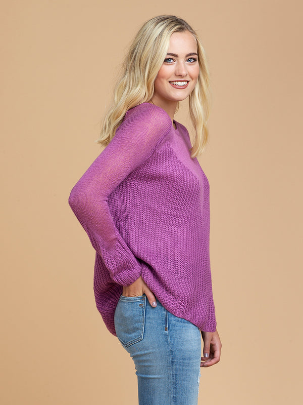 Goodnight Macaroon 'Nia' Knitted Sheer Crew Neck Sweater Half Body Side