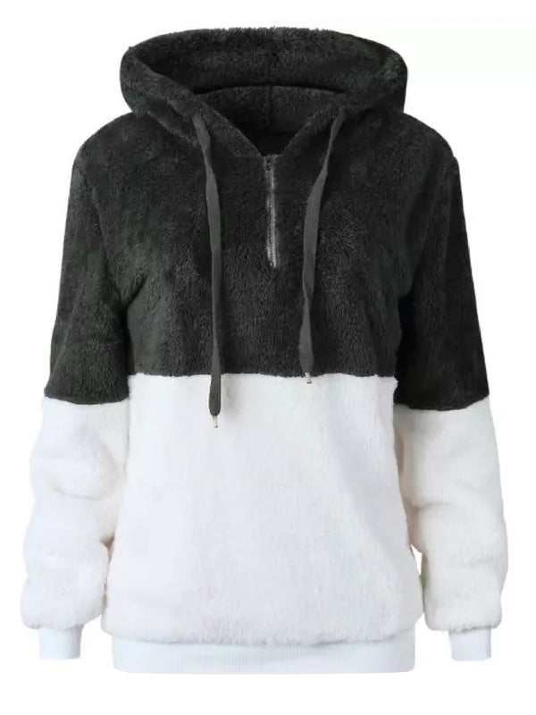 'Dabria' Two-Tone Fleece Half Zip Hoodie (5 Colors)