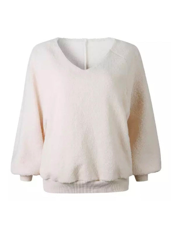 'Hadley' Ballon Sleeves Fleece Sweater (4 Colors)