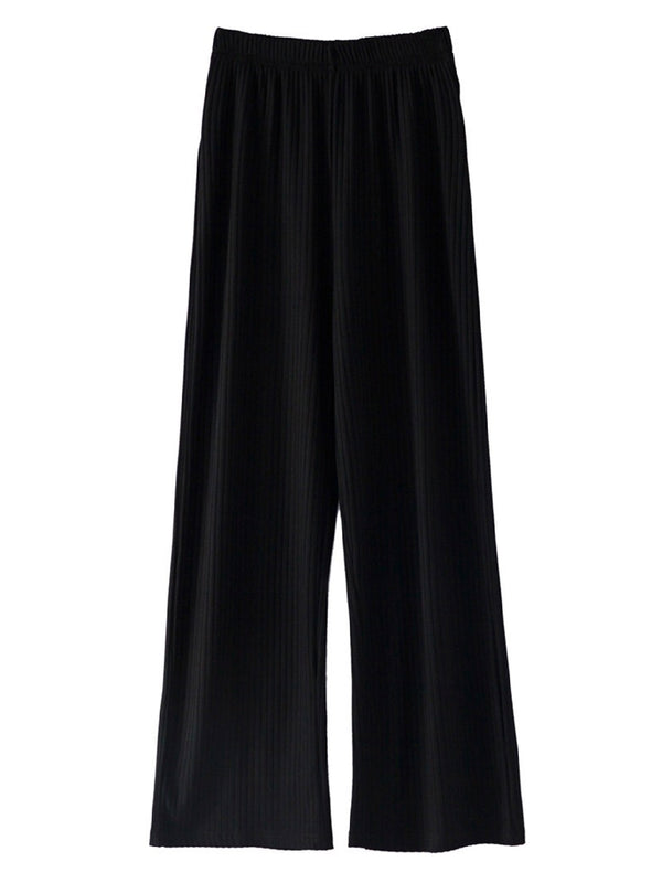 'Millie' Ribbed Wide Leg Pants (2 Colors)