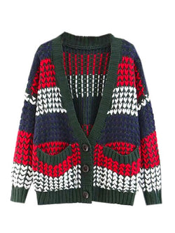 'Kimber' Color Block Chunky Knit Cardigan