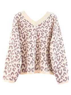 'Louisa' V-Neck Leopard Print Sweater (3 Colors)