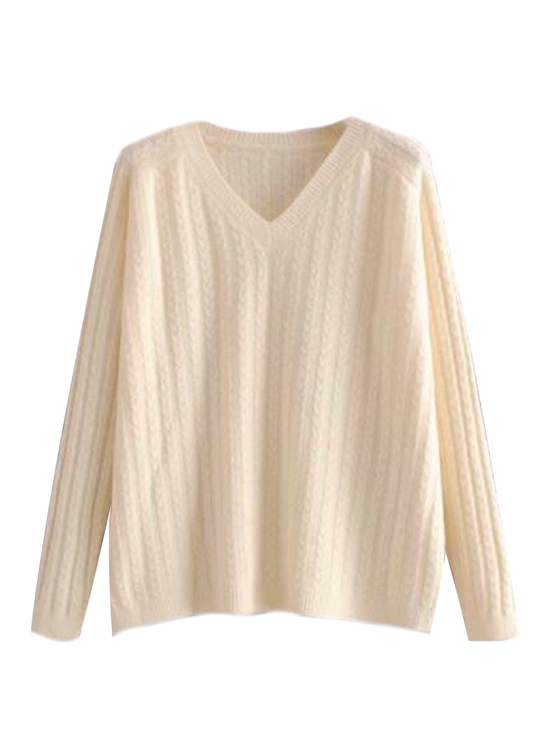 'Lane' Cable Knit V-Neck Sweater (2 Colors)