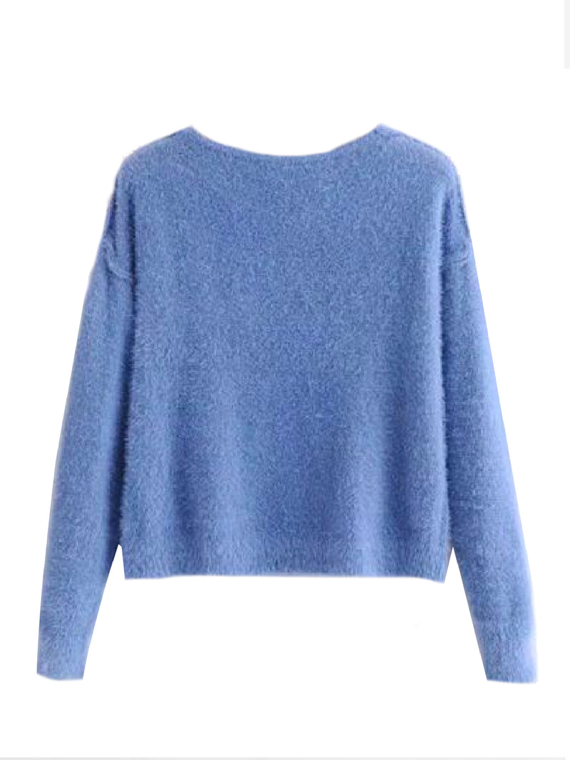 'Laquisha' Mohair V-Neck Sweater (7 Colors)