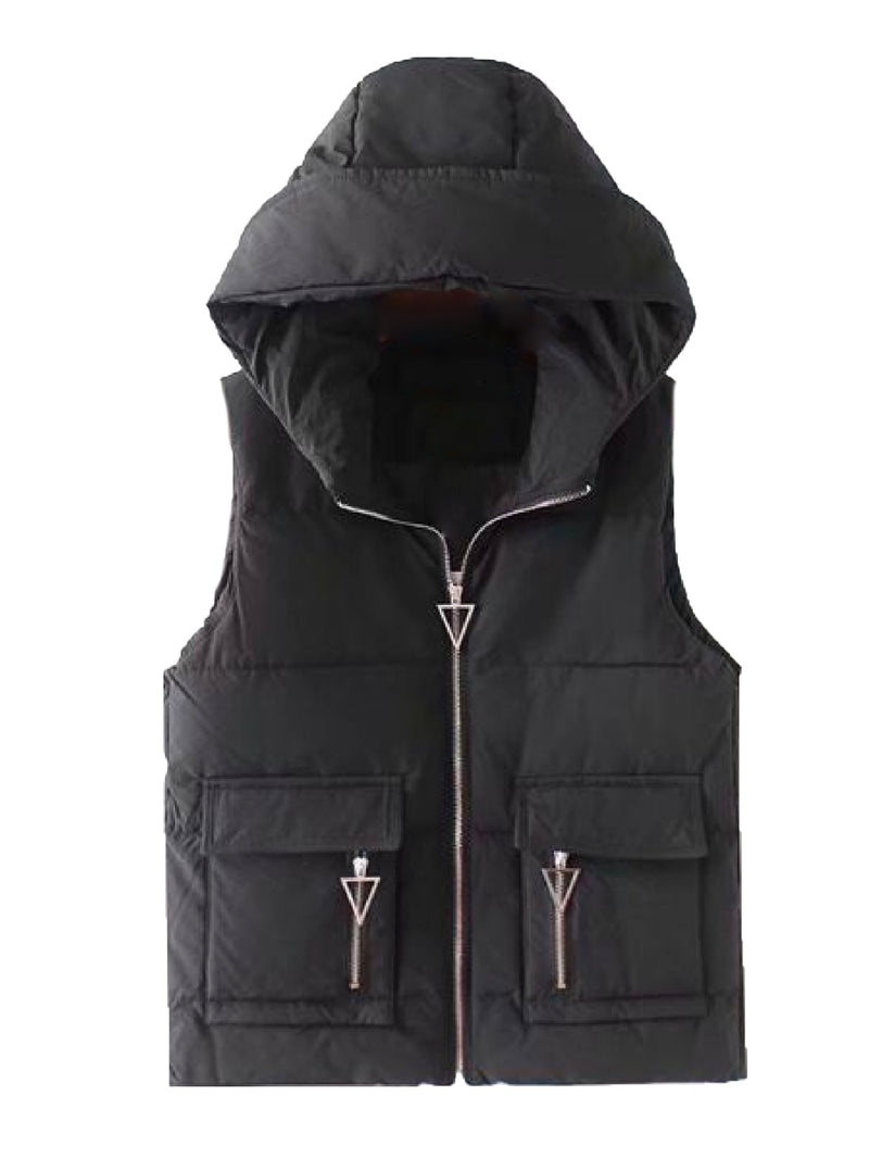 'Ebonee' Hooded Down Vest Jacket (2 Colors)