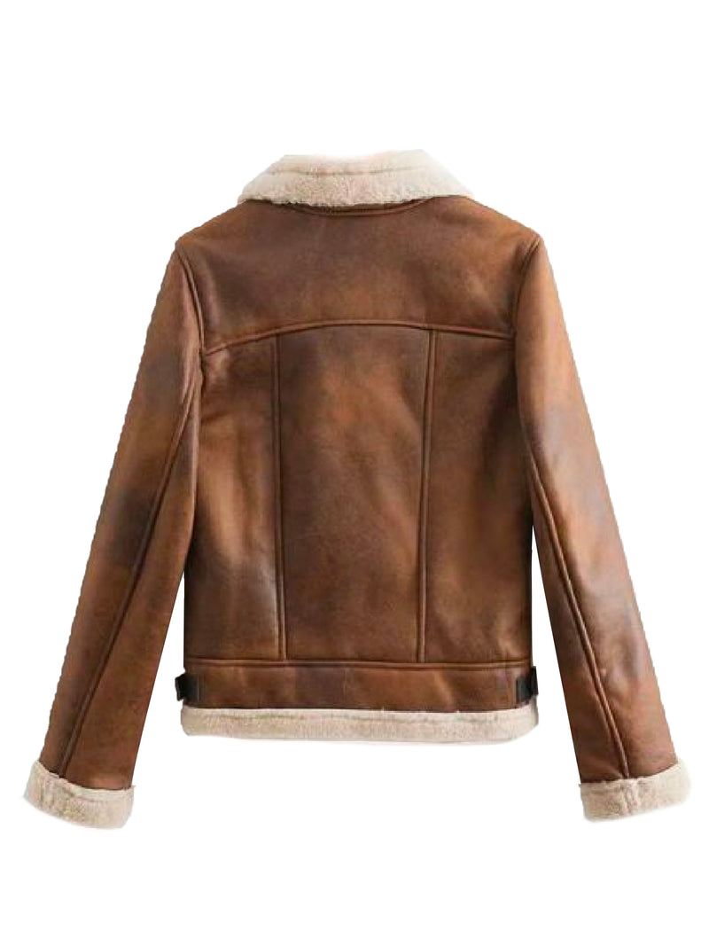 'Ivory' Vintage Washed Faux Shearling Jacket