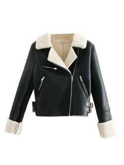 'Calida' Faux Shearling Cropped Jacket (2 Colors)