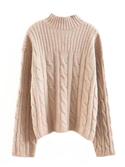 'Orquida' Cable Knit Mock Neck Sweater (4 Colors)