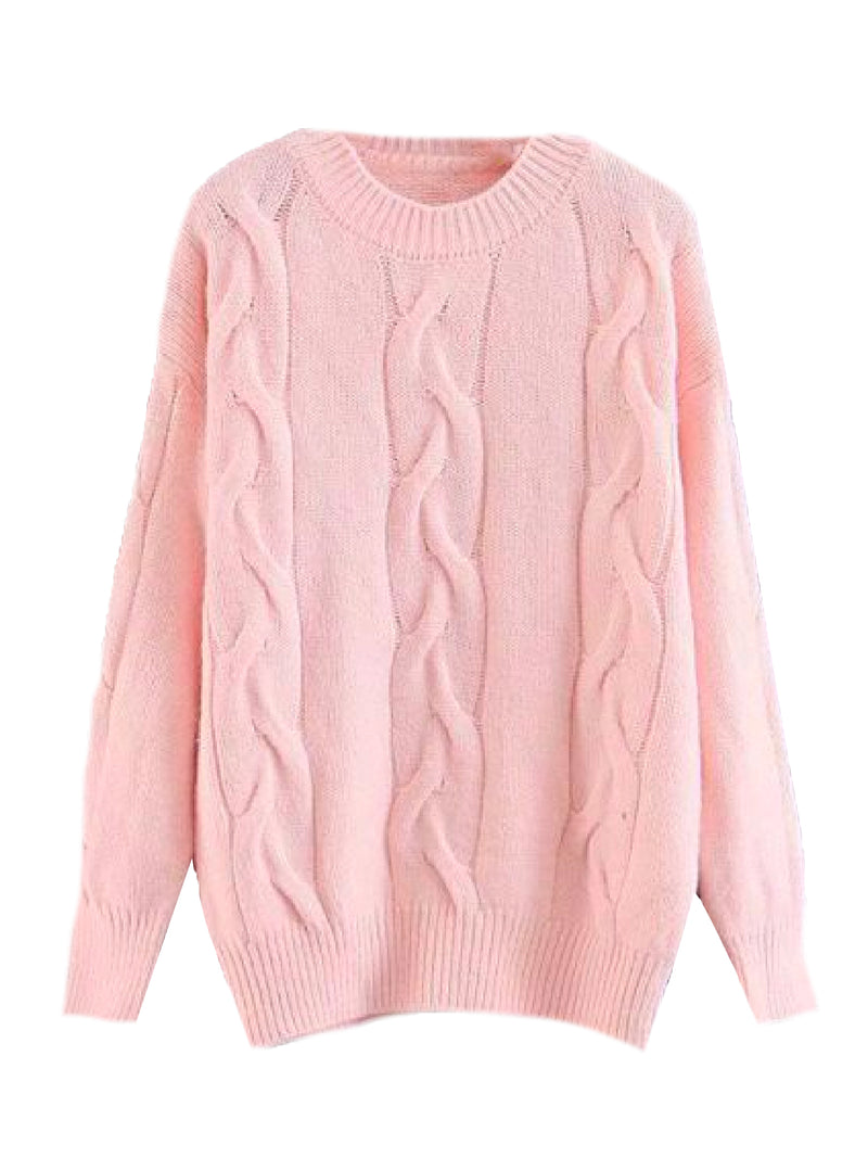 'Eloria' Cable Knit Crewneck Sweater (4 Colors)