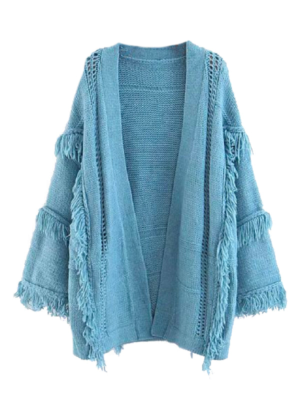 'Martie' Fringed Throw On Cardigan (2 Colors)