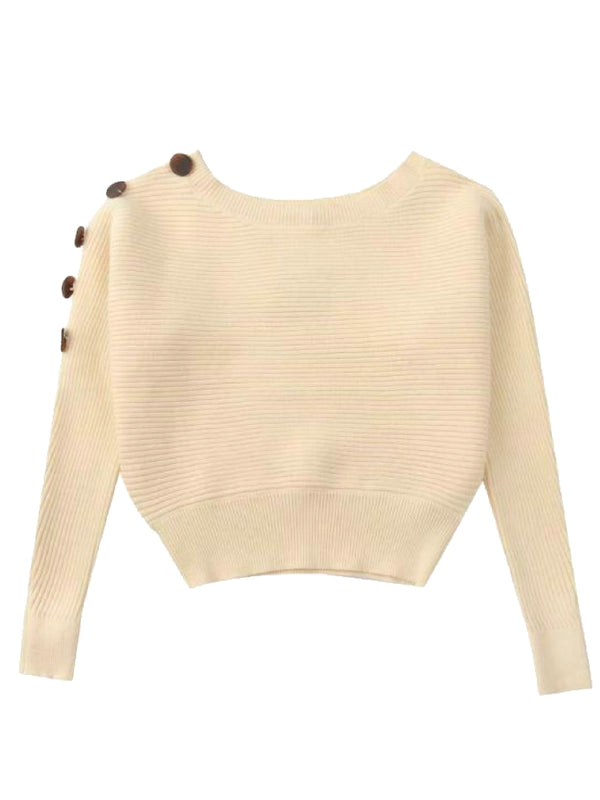 'Mercilla' One Shoulder Buttoned Cropped Sweater (3 Colors)