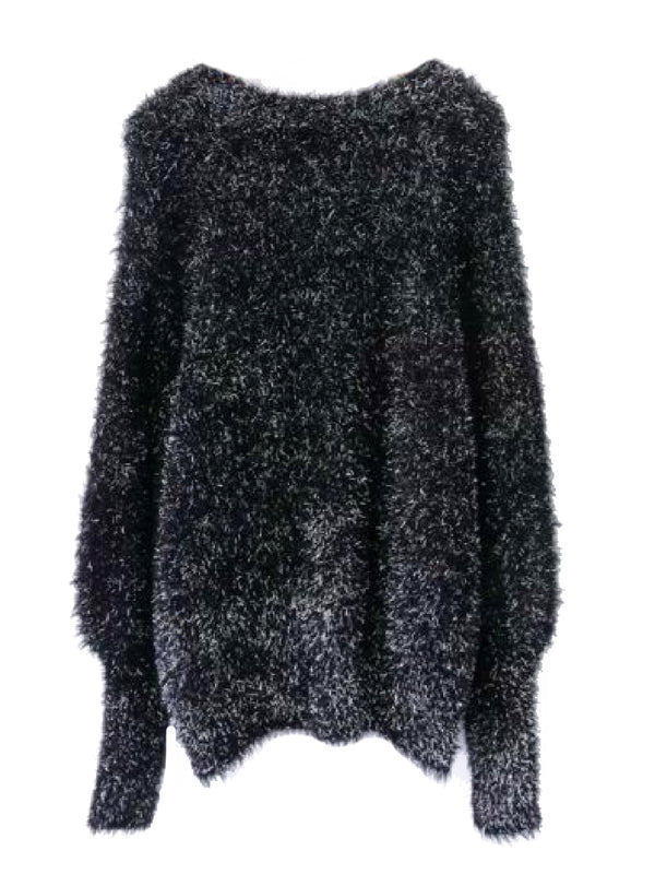 'Dawny' Fuzzy Bishop Sleeves Sweater