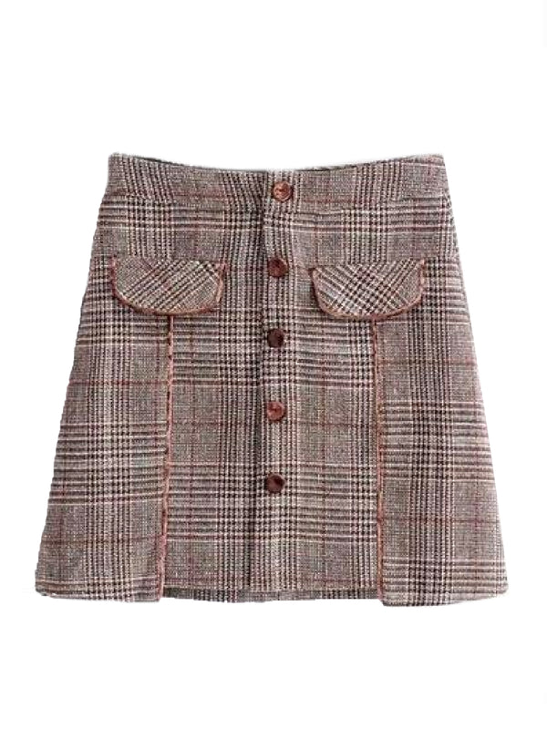 'Garyn' Houndstooth Button Front Mini Skirt (2 Colors)