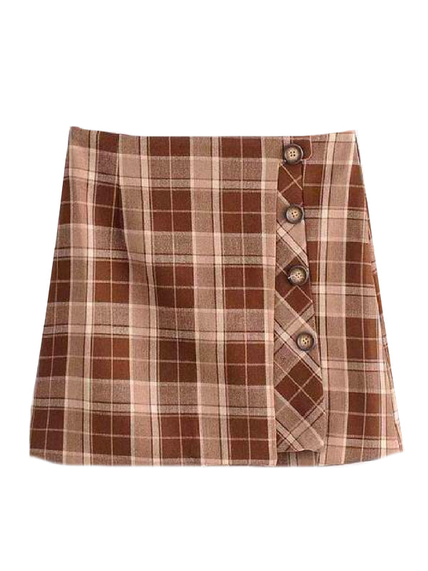 'Jamey' Plaid Side Buttoned Mini Skirt (2 Colors)