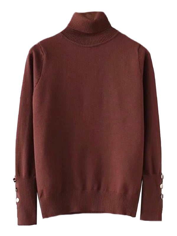 'Lauryn' Buttoned Cuffs Roll Neck Sweater (2 Colors)