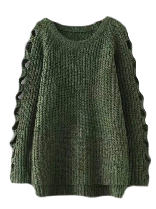 'Leisa' Cut Out Sleeves Knitted Sweater (3 Colors)