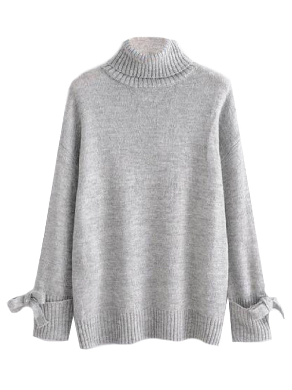 'Marci' Ribboned Cuffs Turtleneck Sweater (2 Colors)