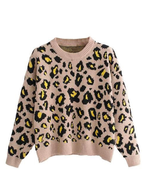 'Marchay' Leopard Print Crewneck Sweater
