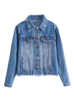 'Waverly' Washed Distressed Denim Jacket
