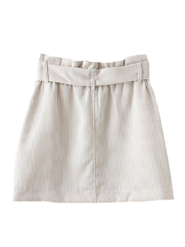 'Zaina' Corduroy Belted Mini Skirt