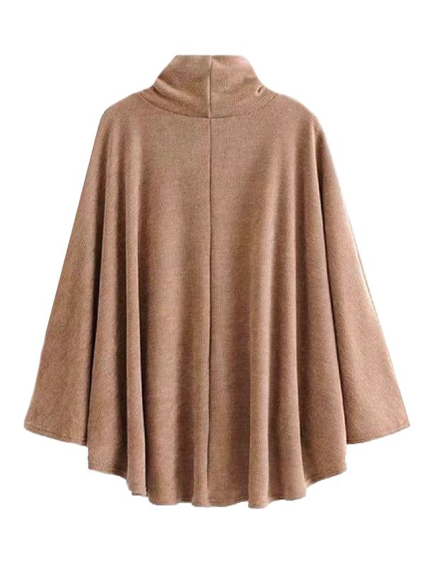 'Zephrine' High Collar Sweatshirt Cape