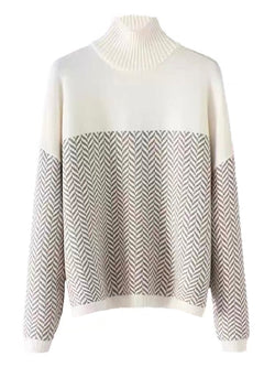 'Venus' Mix Textured Chevron Print Mock Neck Sweater
