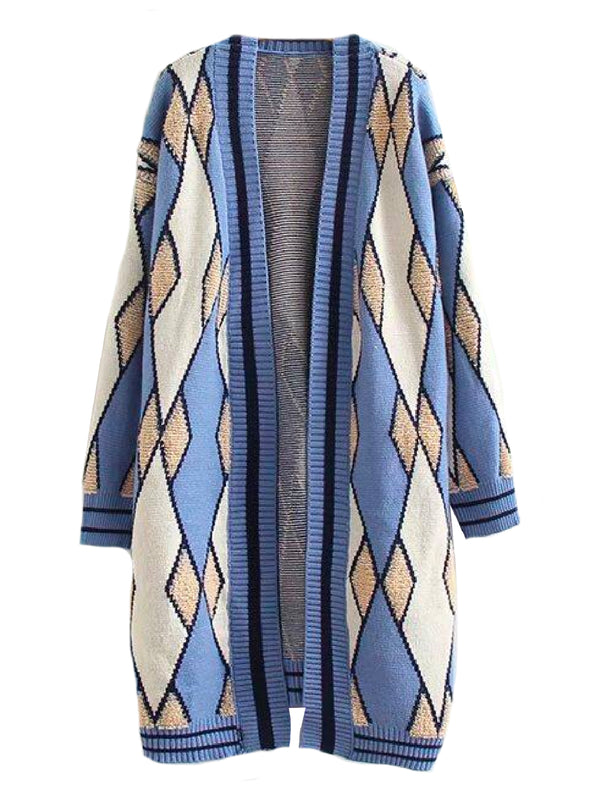 'Elmina' Argyle Long Open Cardigan (2 Colors)