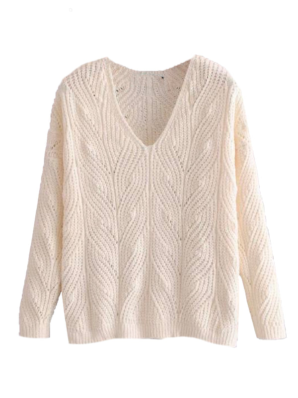 'Goldine' Twisted Knit V-Neck Sweater (3 Colors)