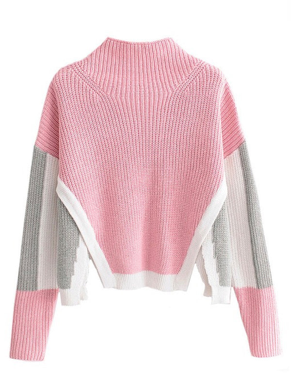 'Deysi' Color Block Side Slits Cropped Sweater