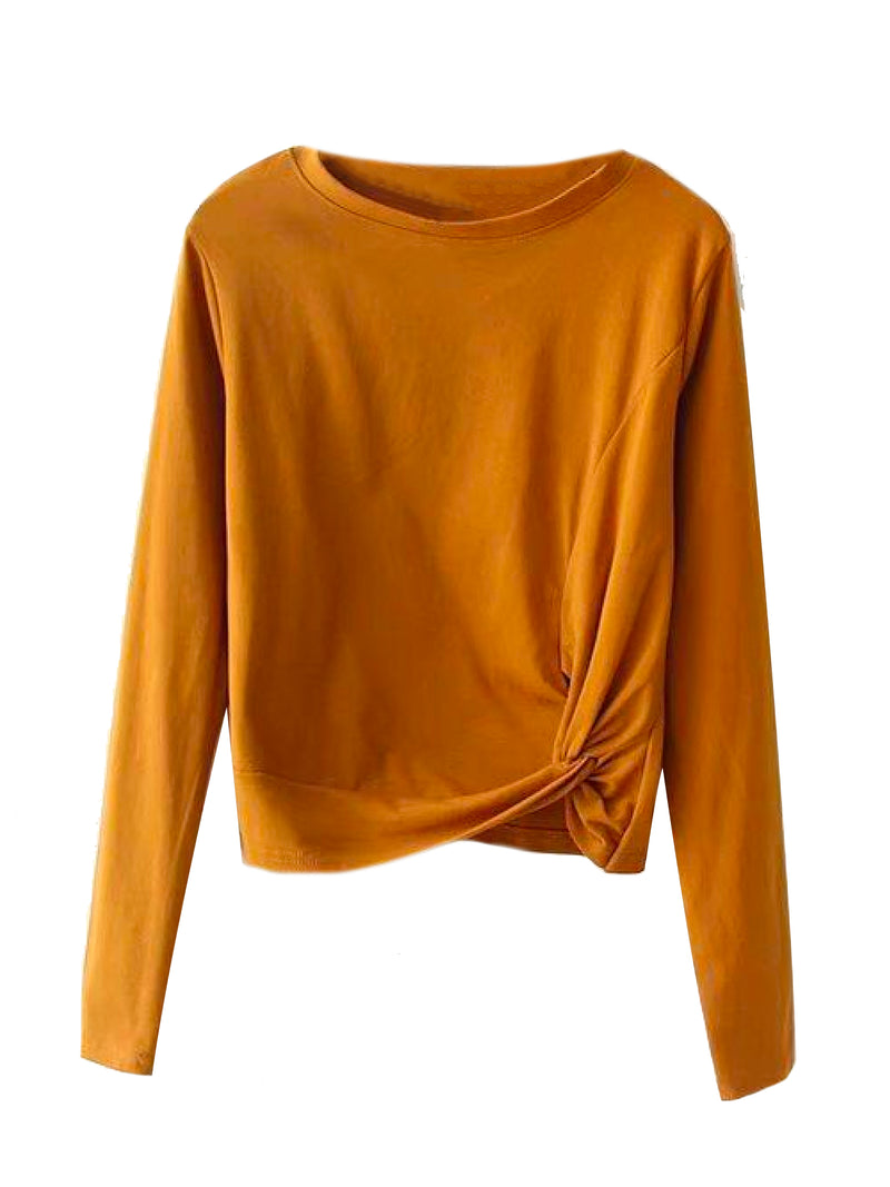'Maggi' Front Knot Long Sleeve T-Shirt (4 Colors)