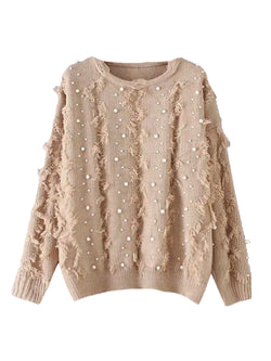 'Chelley' Pearl Studded Fringed Sweater (4 Colors)