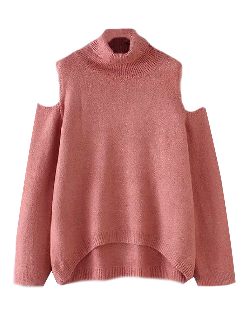 'Charlaine' Cut-Out Shoulder Roll Neck Sweater (5 Colors)