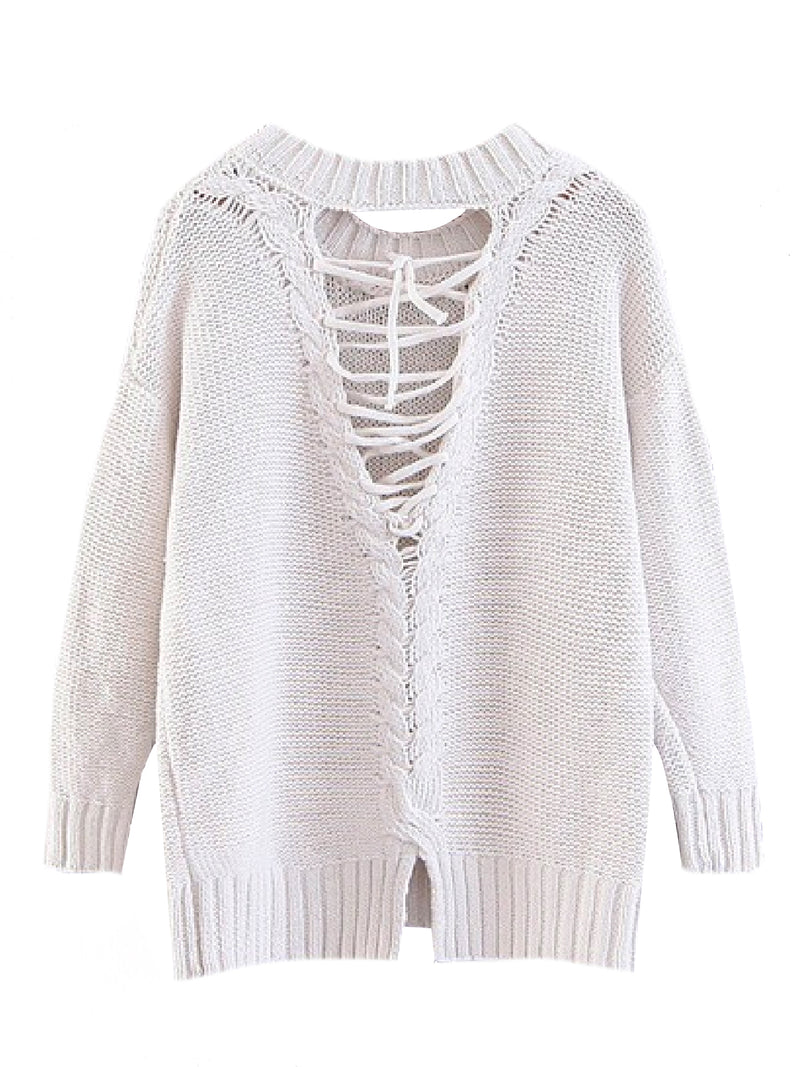 'Valentina' Lace Up Back Sweater (3 Colors)