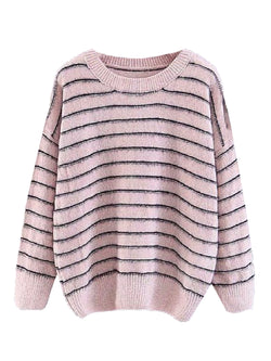 'Pembe' Striped Fuzzy Sweater (2 Colors)
