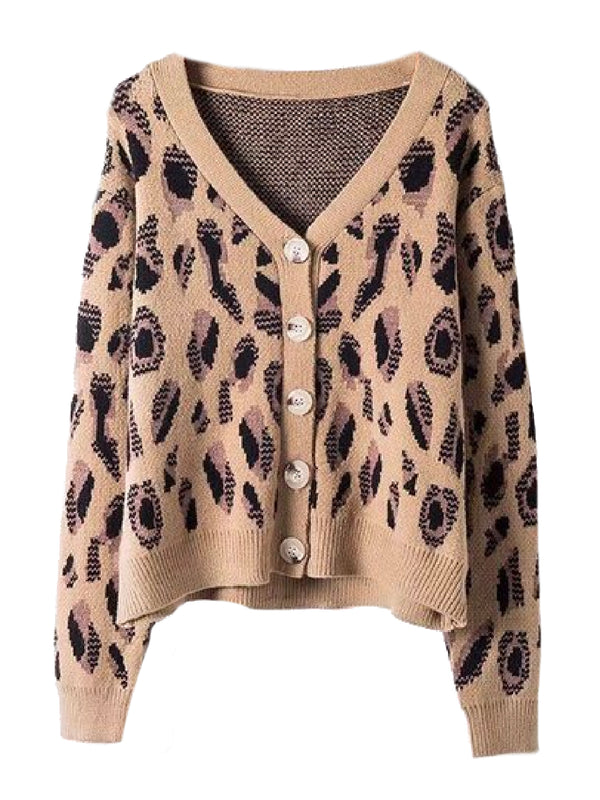 'Leena' Leopard Print Button Down Cardigan
