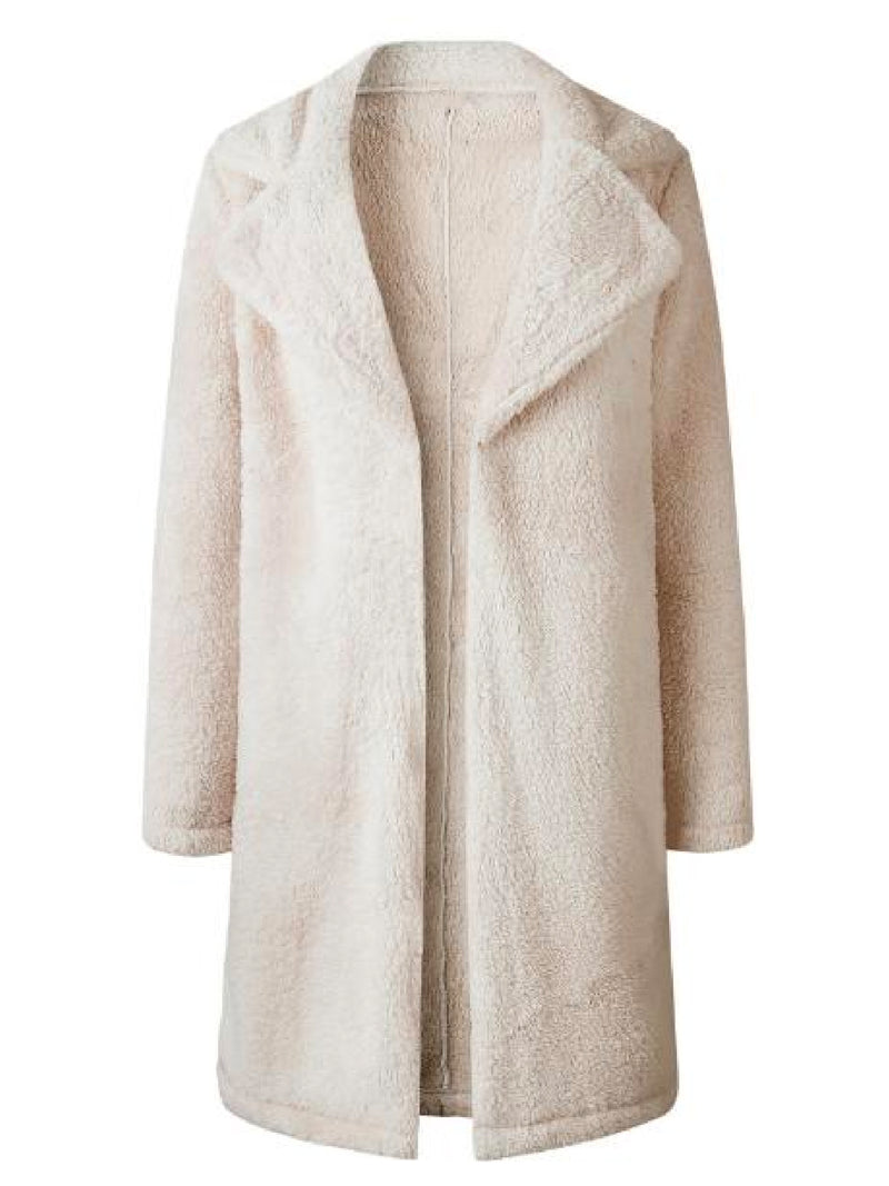 'Noelle' Double Collar Fleece Coat (3 Colors)