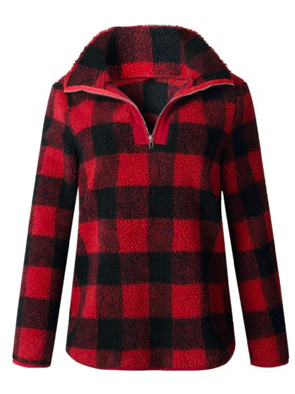 'Aniya' Checkered Fleece Pullover (3 Colors)