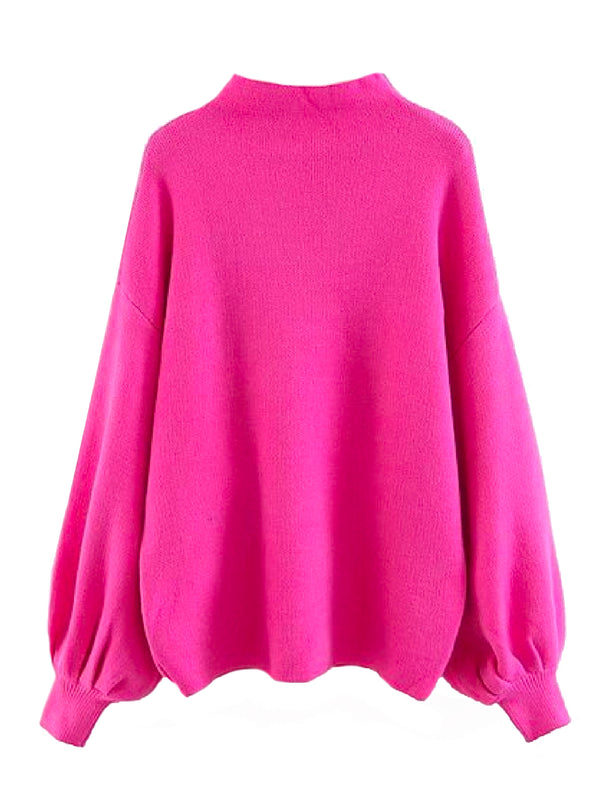 'Row' Mock Neck Bishop Sleeve Sweater (6 Colors)