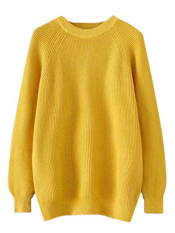 'Calypso' Ribbed Knit Long Sweater (5 Colors)