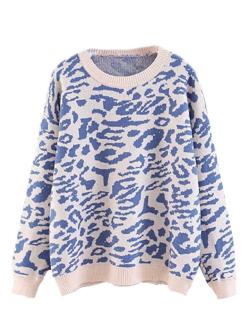 'Indigo' Leopard Print Knitted Sweater (3 Colors)