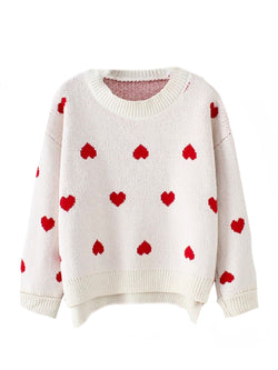 Trudy' Heart Pattern Sweater (2 Colors) Goodnight Macaroon